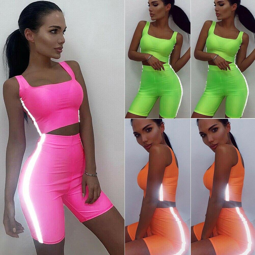 2PCS/Set Womens Sports Suit Fluorescent Reflective Crop Tank Top + Shorts Vest Outfit Workout Tracksuits 4 Colors