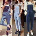 2017 denim bib pants female bf loose plus size denim trousers female jumpsuit