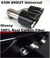 Dual Pipe Right Exhaust Tail Muffler In 2.5 Out 3.5 Glossy Carbon Fiber Stainless Exhaust Tip for Audi A6 A7 A5 GTI