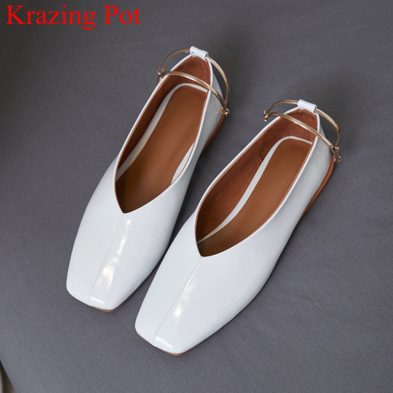 Krazing Pot 2019 superstar genuine leather brand square toe shallow women flats sweet ankle strap brand