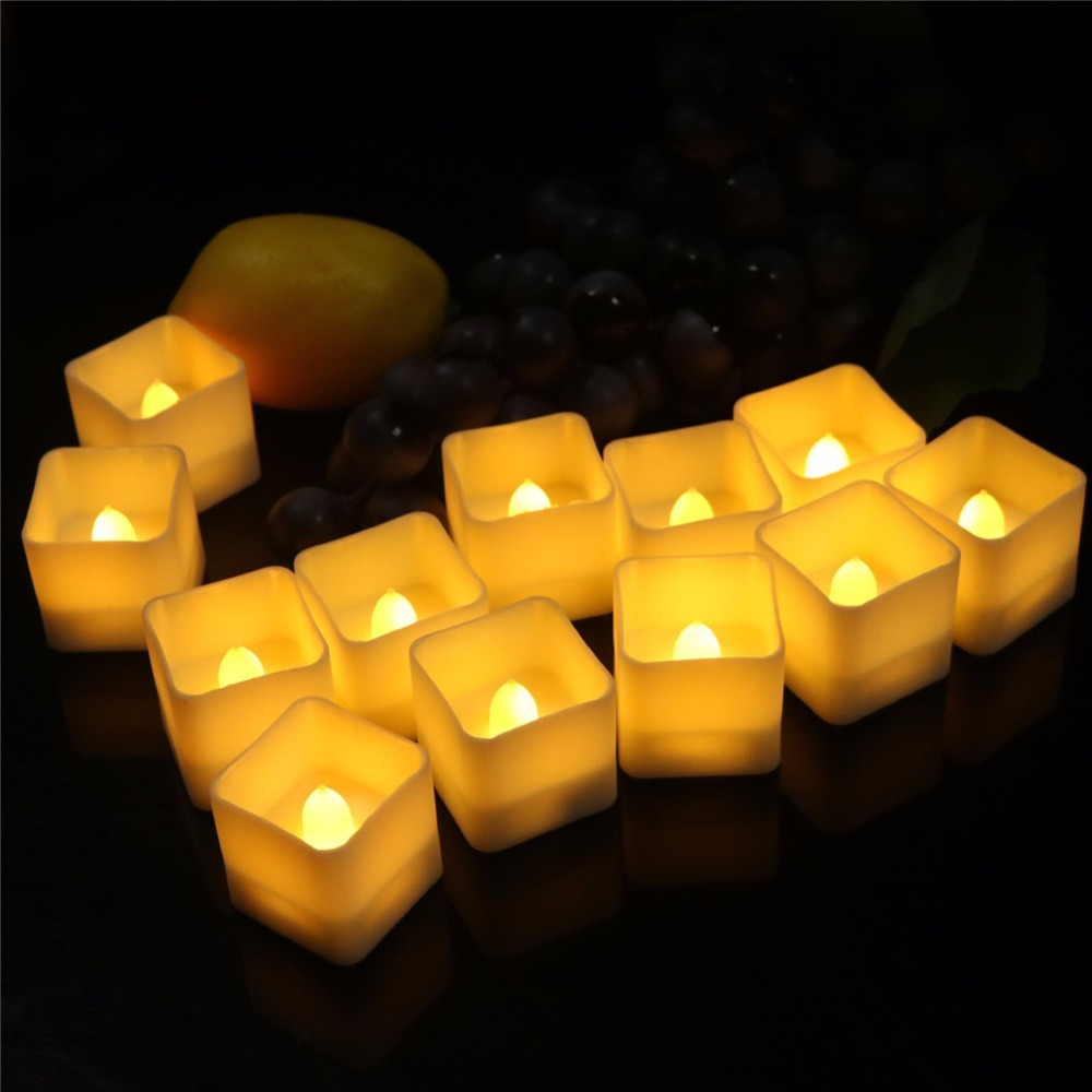 Pack of 12 Decorative Tea Light Candles With Square Shape,Flickering yellow or Flickering warm white Led Candles For Wedding
