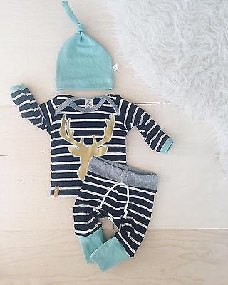Baby Boy Girl Autumn Outfit Clothes Newborn Kids Striped T-Shirt Tops+ Blue Striped Pants Trousers+Hats 3PCS Set