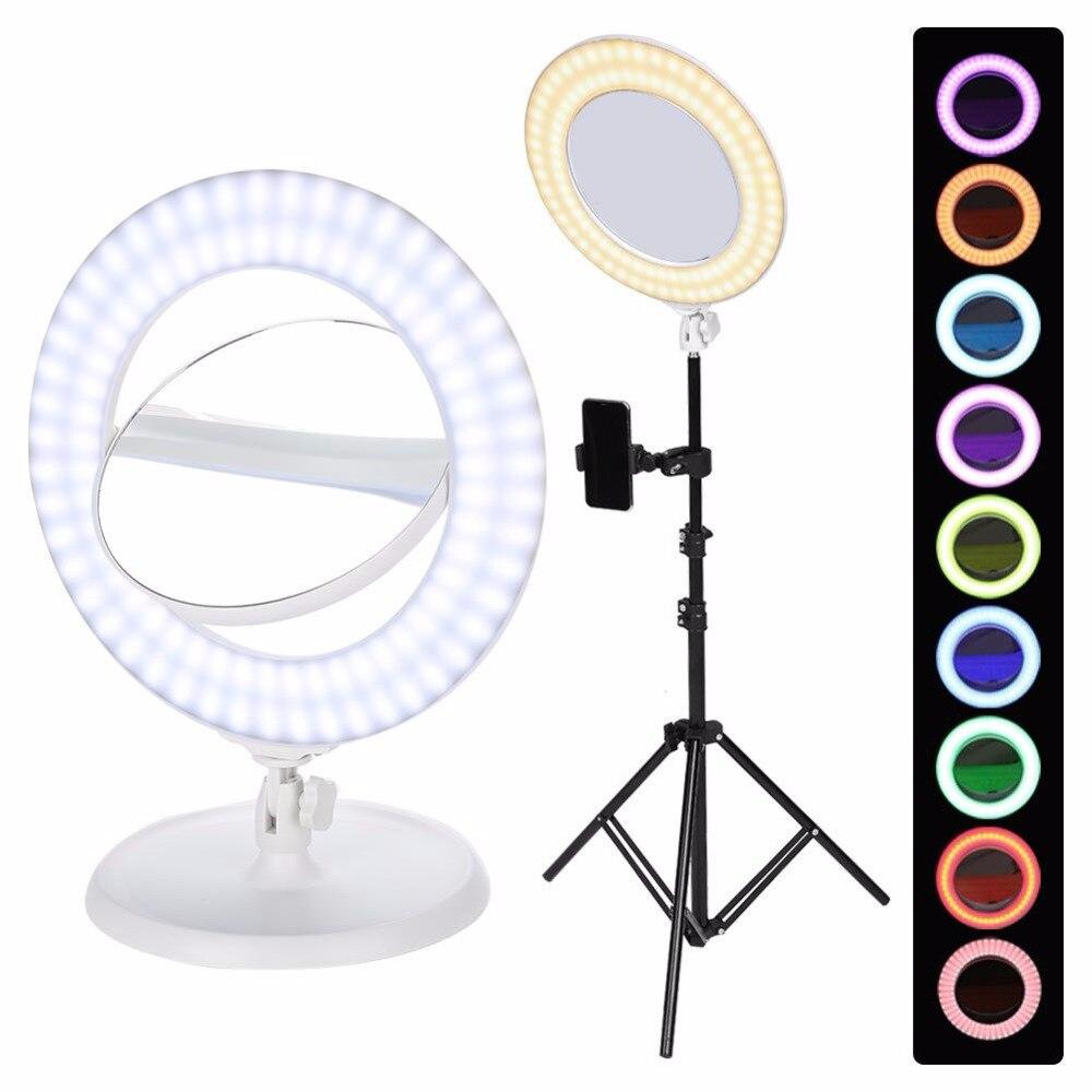 Dual Seiten Make-up Spiegel Dimmbare Led Multicolor Ring Licht Stativ Für Video Schießen