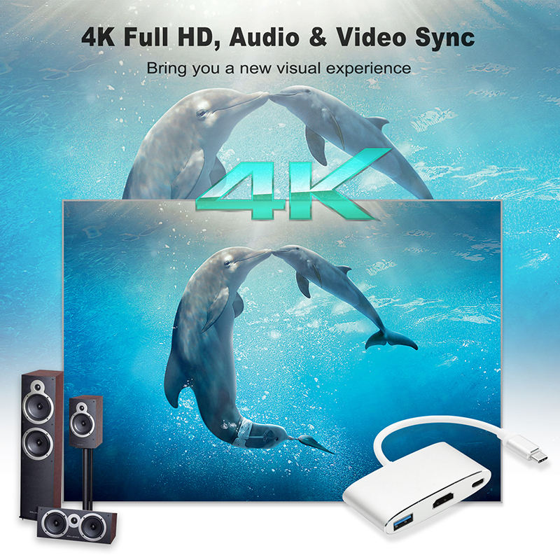 CABLETIME USB C Hub HDMI 4K Type C 3.1 to HDMI USB 3.0 Adapter USB C Converter for Macbook Chromebook Pixel Lumia USB C Hub C207