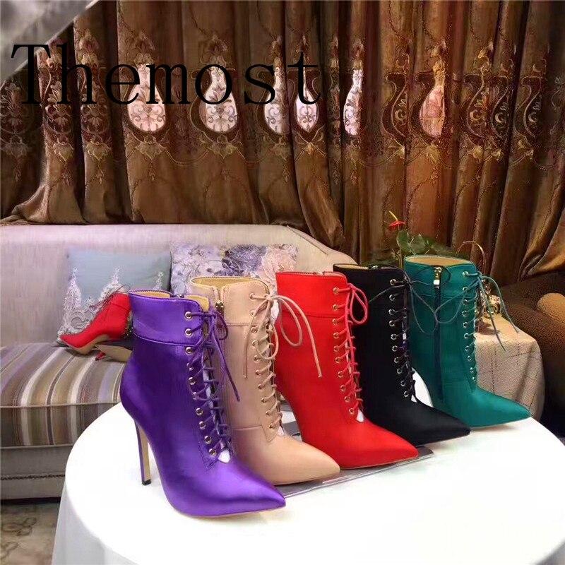 Européen Cravate Pointues red Bottes De Black 2018 Pour Green pink Et Mode Femmes Américain army Dame Courtes Pointu Romaine purple Chaussures Avec dwqPYIq