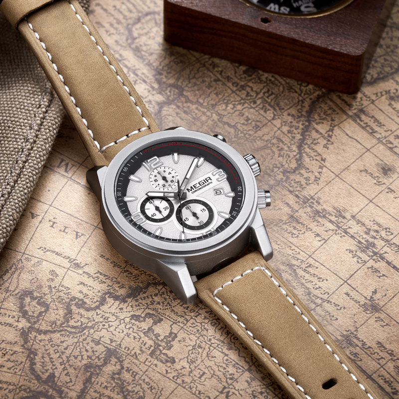 MEGIR Military Sports Watches Men Luxury Top Brand Men's Fashion Quartz Wrist Watch Leather Strap Clock Male Relogio Masculino 2016 new weide luxury brand quartz watches men dual time oversize clock men sports military leather strap fashion wrist watch