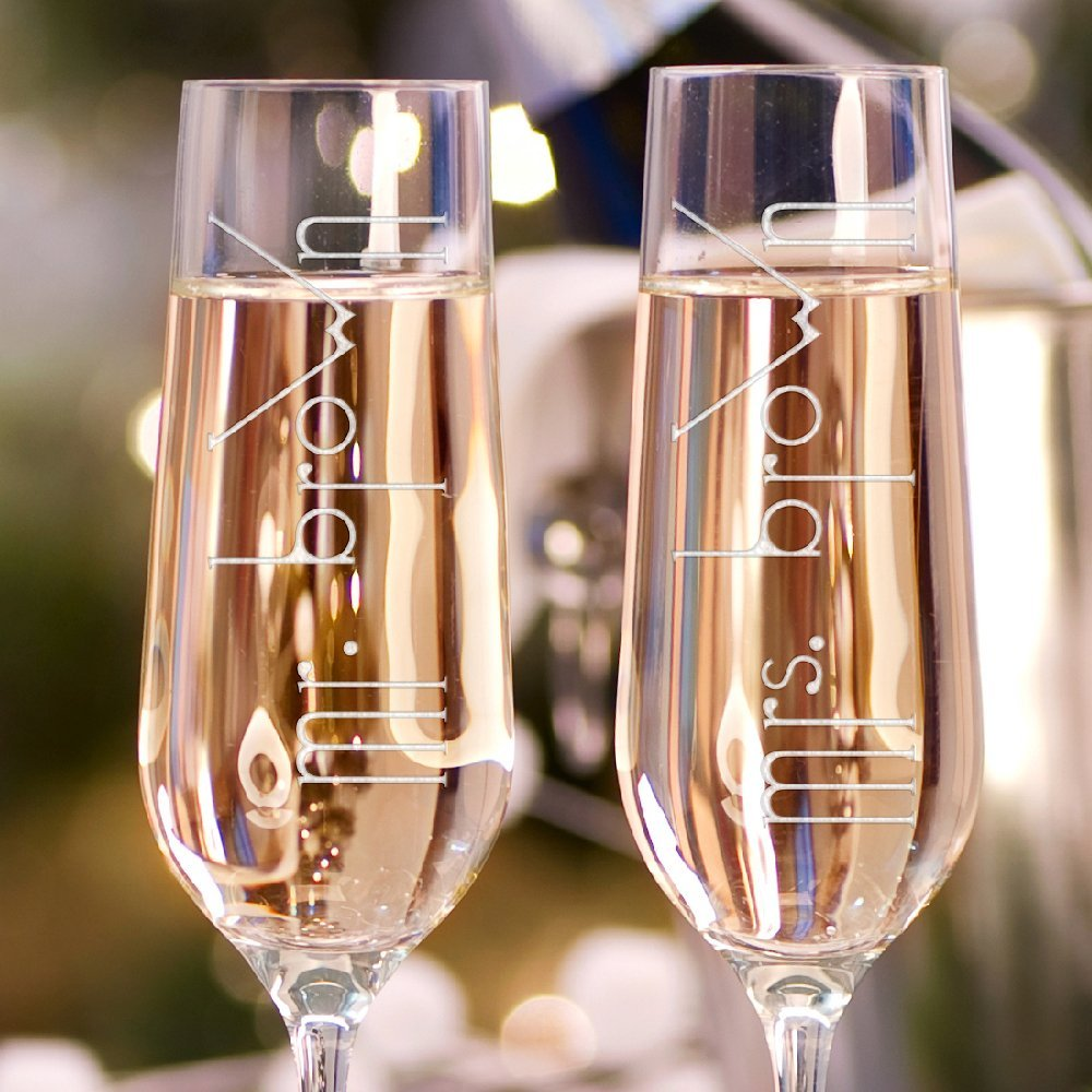 Wedding Gift Champagne Flutes: Set Of 2 Personalized Last Name Toasting Glasses,Champagne
