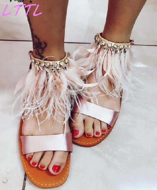 Summer New Fashion Pink Feather Women Flat Sandals Elegant Pink Satin Ladies Ankle Buckle Sandals Rhinestone Sandals 2015 summer new fashion and leisure solid cool women sandls flat buckle knot women sandal breathable comfort women sandals e309