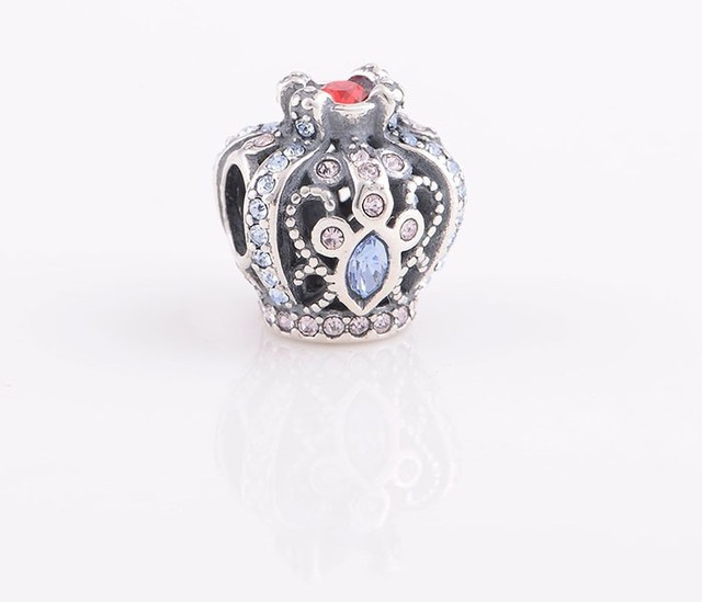 Authentic 925 Sterling Silver Beads Royal Crown with Crystal Charm DIY Jewelry Fits For Chamilia European Bracelet