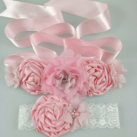 1 Set Chiffon Pink White Purple Flower Sash Matching Baby Headband Satin Sash Belt Flower Girl