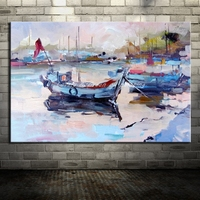 Hand Painted Canvas Painting Abstract Arts Poster Boat Landscape Oil Painting Wall Pictures For Living Room Home Decor Wall Art
