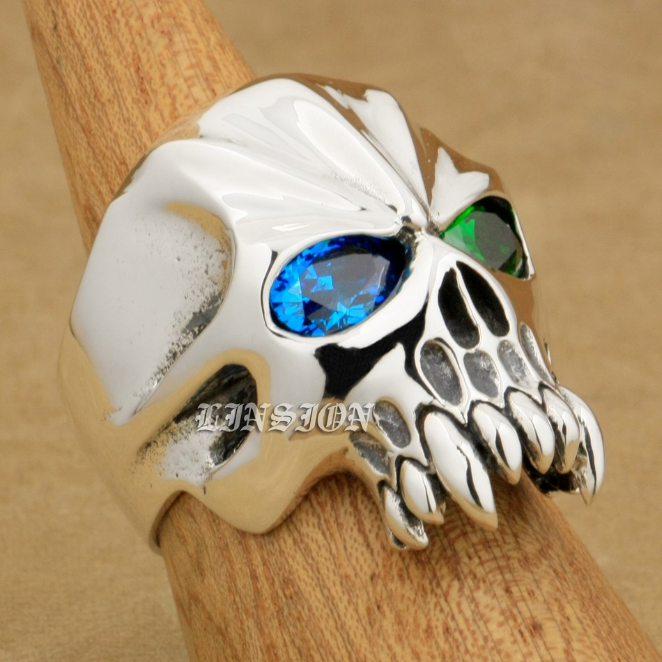 US Size 8~15 Huge Heavy 925 Sterling Silver Green + Blue CZ Eyes Skull Mens Biker Rock Punk Ring 9M804 green cz eye 925 sterling silver skull ring mens biker punk style 8v306a us 8 15
