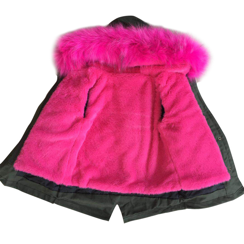 Kids Girl Winter Coat With Large Fur Collar Hooded Pink -8441