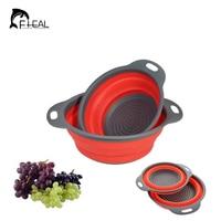 FHEAL 2 unids/set Plegable Cocina Fregadero de Lavado de Verduras Cesta de Frutas Cesta de Drenaje Colador De Silicona Soporte Del Filtro Colador De Cocina