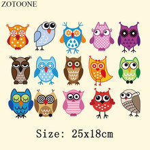 ZOTOONE Cute Owl Cartoon Animal Patches For Clothes DIY Heat Thermal Transfer Iron On Transfers T-shirt Cloth Stickers Badges D
