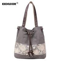 Для женщин цветочный холст ведро Повседневное сумка испанский пляжные Сумки Для женщин строка shopping Сумки Кружево печати сумка женская Bolso