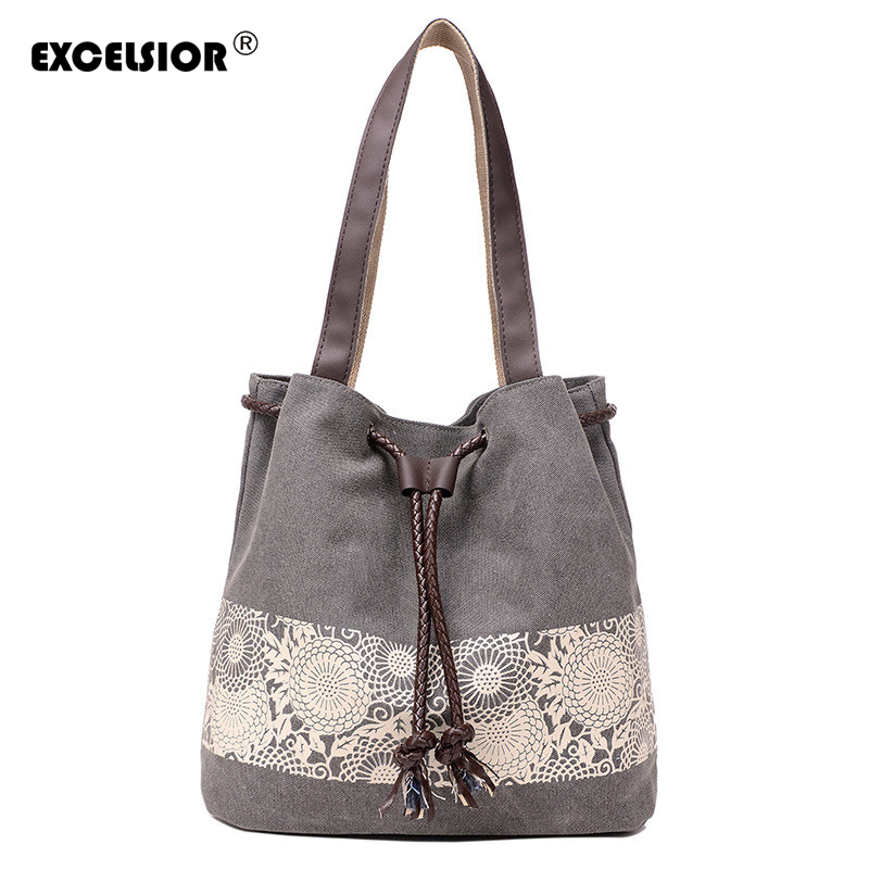 Women Floral Canvas Bucket Casual Shoulder Bag Spanish Beach Bags Women String Shopping Handbags Lace Printing Bag Female Bolso squirrel fashion bucket canvas girls cross body shoulder bag vogue pattern brand casual versatile drawstring women handbags