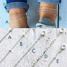 Romad Simple 5Pcs/Set Anklet Set For Women Silver Color Multi-layered Bead Chain Anklet For Women Summer Beach Jewelry punk style layered coins tassel anklet for women