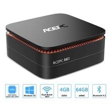 ACEPC AK1 оконные рамы 10 Мини ПК настольный игровой компьютер Intel Celeron J3455 4 г 64 12 В 2 HDMI 2,5 дюймов SSD/mSATA SSD Wi Fi к gigabit