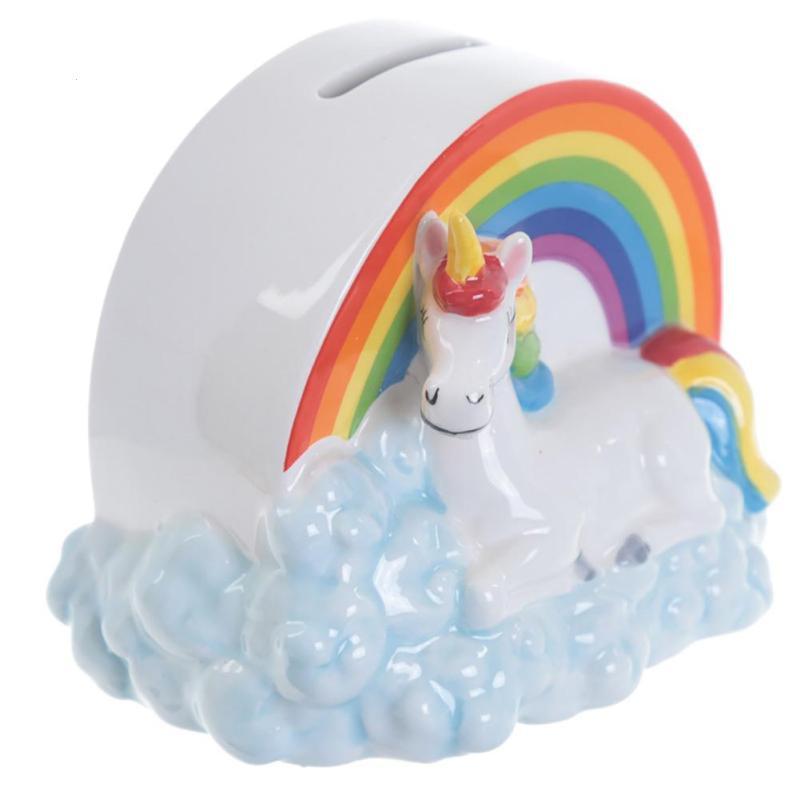 Creative Rainbow Unicorn Piggy Bank Money Box Coin Bank Ceramic Saving Box Bank Storage Jar Decoration Safe Box Save Cans L40