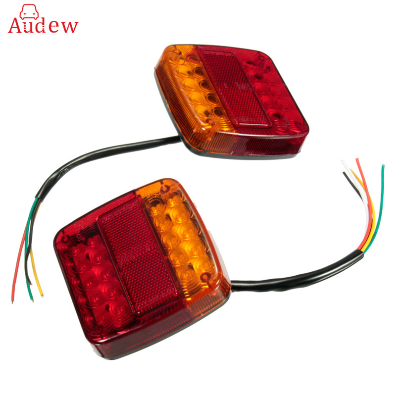 12V Waterproof Trailer Truck 20 LED Taillight Tail Light Rear Lamps Turn Signal Brake Number Plate Light Lamp For Trailer Truck 2pcs 20 led car truck red amber white led trailer waterproof tail lights turn signal brake light stop rear lamp dc 12v cy798 cn