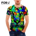FORUDESIGNS Men's T Shirt Colorful Animal Short Sleeve Male Casual Summer Style T-Skirt Cool 3D Tiger Head Tops Fashion Men Tees