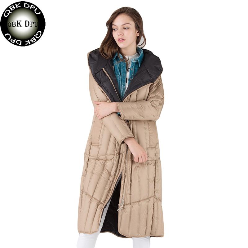 Women Fashion Winter Warm Overcoat Two Side Long Down Jacket Hot Sell Loose Hooded Ultralight Down Coat Windproof Down Parkas