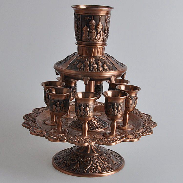 Rare 12 pièces/ensemble antique cuivre en alliage de zinc métal vin décanteur ensemble boissons vaisselle ensemble vin tasse JJ018