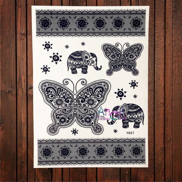 Large Elephant Designs Fake Flash Temporary Tattoo Butterflies
