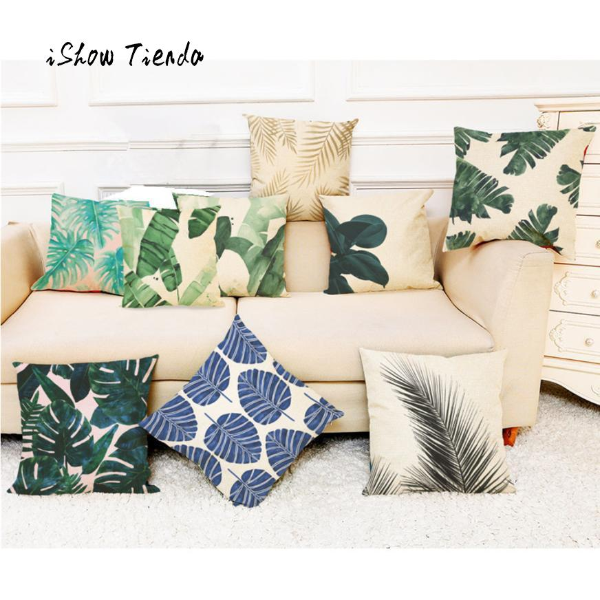 Home Decor Cushion Cover Tropical Leaf Printing Fashion Tropical Plants Throw Pillowcase Pillow Covers Cafe Decorative Cover