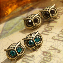 E018 2017 new hot sell cute korea style retro green big eyes owl earrings for women jewelry free shipping(China)