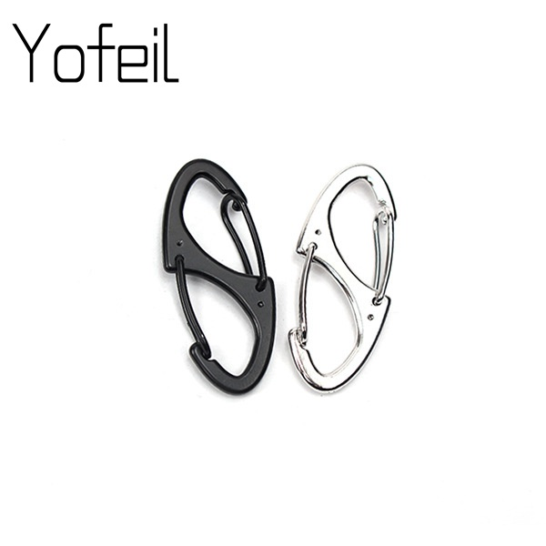 2 PCS Locking Carabiner Keychain 8 Ring Quick Release Clip Rock Climbing Carabiners Key Clip Buckle  Outdoor Camping Tool Gear