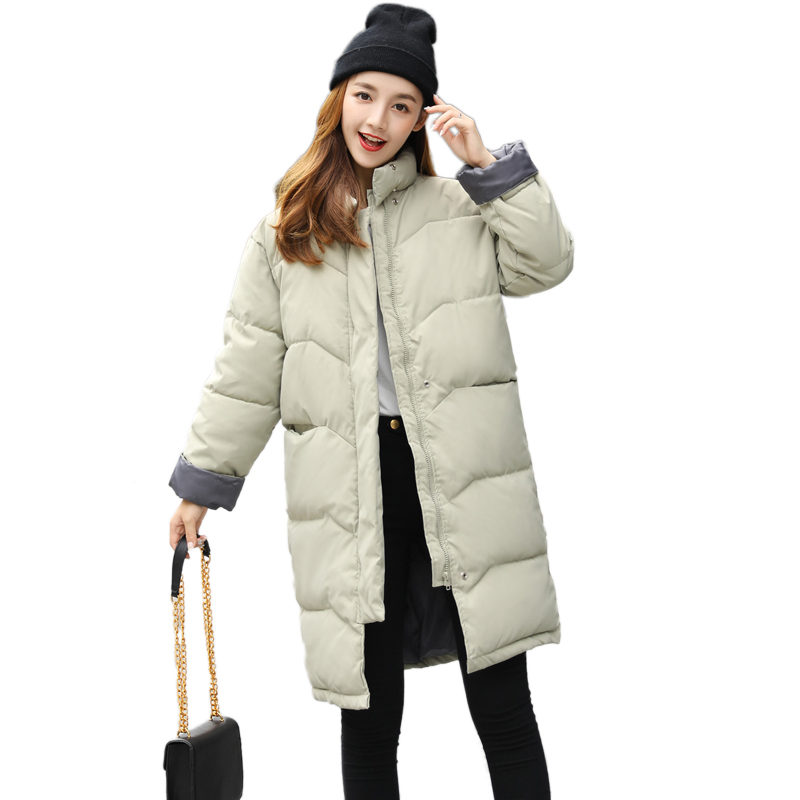 2018 Women Winter jacket Long Coat Thick Turtleneck Warm Jacket Cotton Padded Zipper Plus Size Jacket Female Parka Outwear C3695