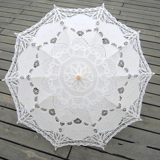 Guarda-chuva de casamento De Noiva Bordado Lace Parasol Umbrella Sun Alta Qualidade Punho De Madeira