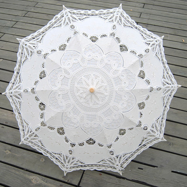 Wedding Bridal Umbrella Embroidery Lace Parasol Sun Umbrella High Quality Wood Handle