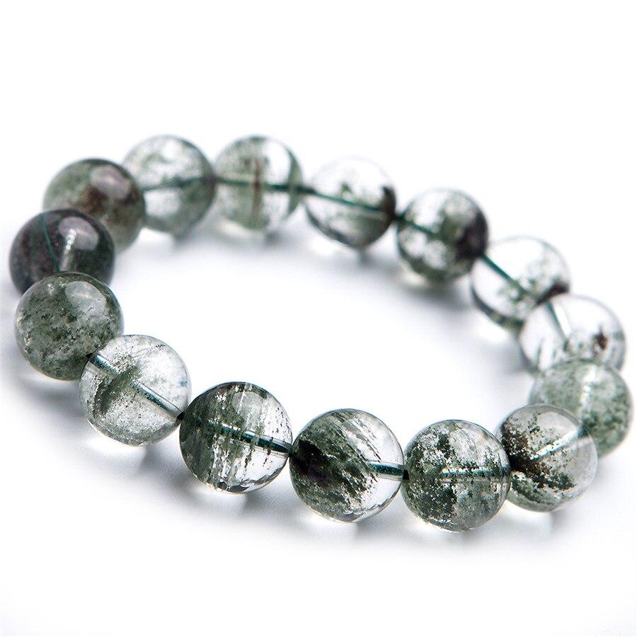 14.5mm véritable Quartz naturel vert fantôme AAAAA clair extensible perle ronde puissant bracelets pour femme hommes