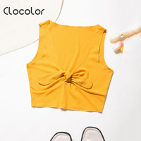 Clocolor Women Tank Top Slim Sleeveless Lace Up Bowknot White Red Pink Yellow 2018 Sexy Girl