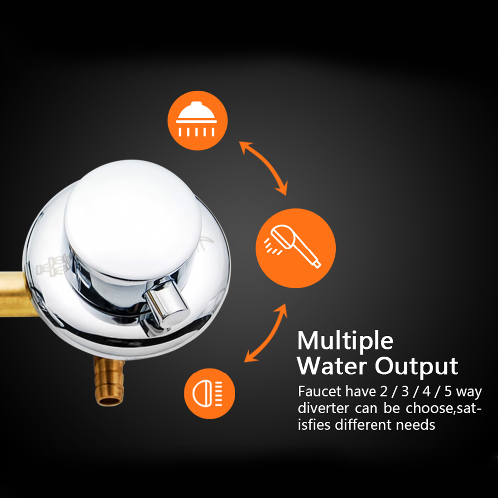 2/3/4/5 Output Hole Distance 10cm 12.5cm Brass Shower Room Faucet Without Thread Mixer Tap and Diverter For shower Set Cabin