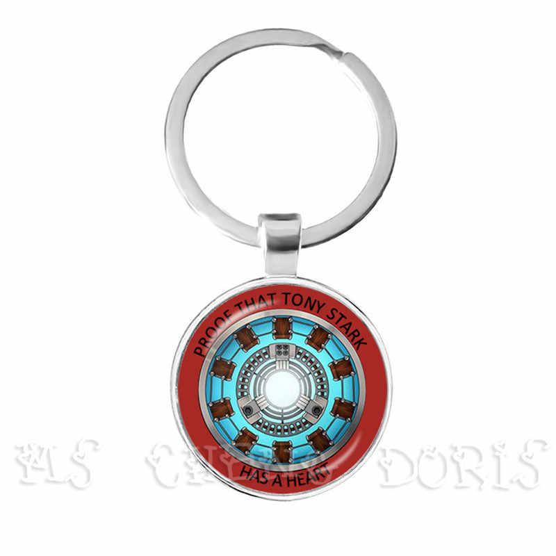 Vidro cabochão pingente marvel homem de ferro tony stark arco reator chaveiros os vingadores 4 endgame quantum reino filme lembrança