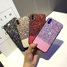 Shinning Glitter Leather Phone Case for iPhone X XR XS MAX 6 6s 7 8plus Colorful Bling Stitching Gitter Back Cover