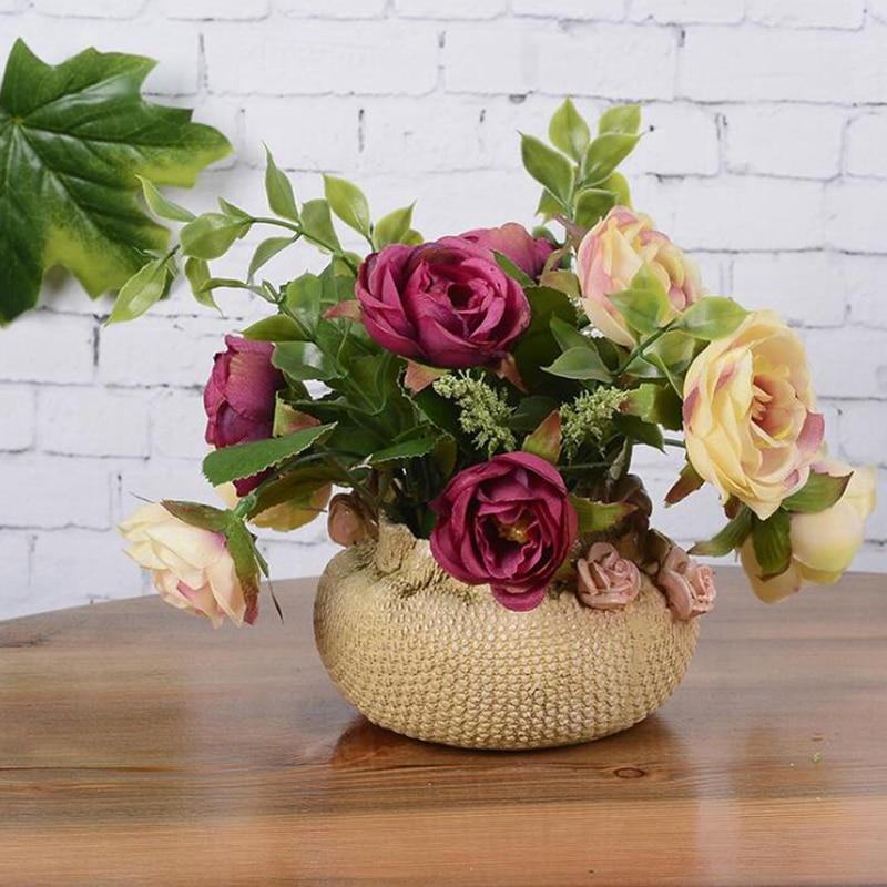 Nº1Set 18*16*16cm Flower + Vase Rose Wedding Home Party Decoration ...