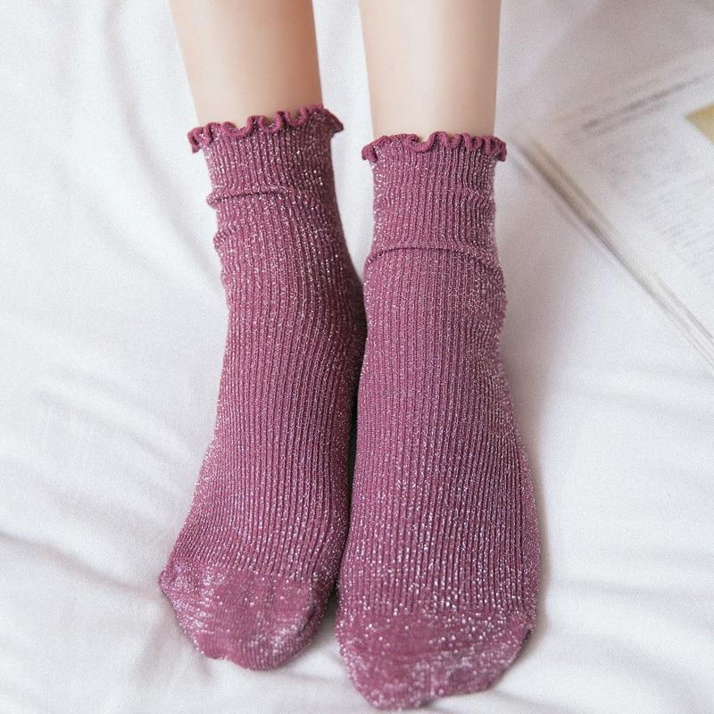 British Vintage Glitter Women's Socks Cotton Women Daily Basic Shining Rib Surface Sweet Socks Girls Summer Ankle Socks Women