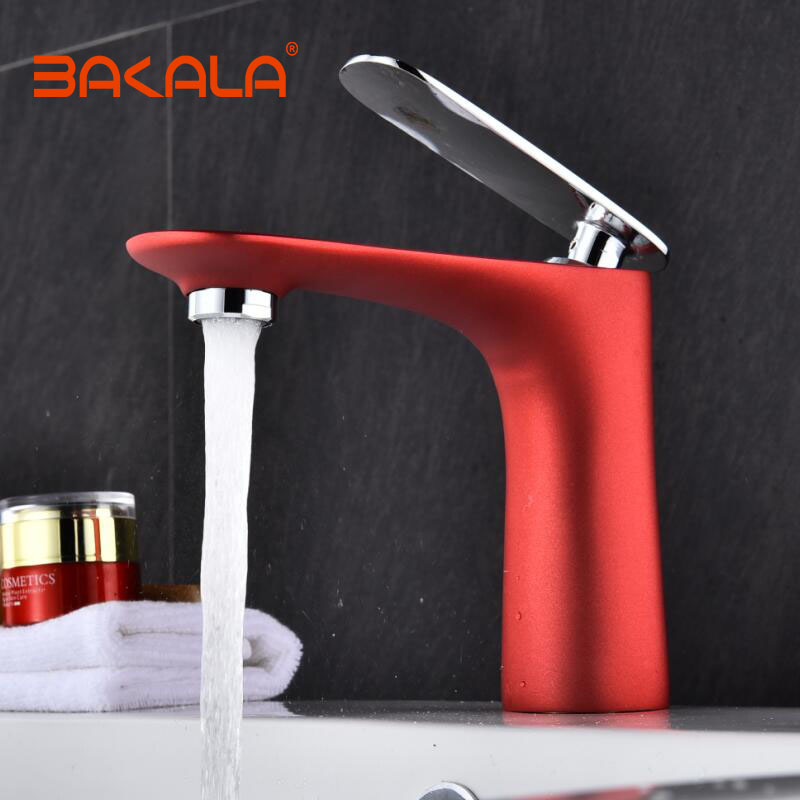 BAKALA New Bathroom White Black Orange Golden Chrome Red color faucet Brass sanitary ware faucet Hot and cold water basin mixer nieneng big discount basin washroom mixer bathroom faucet tap mixers wc sanitary ware water toilet taps polished chrome icd60157