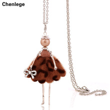 2017 new doll pendant necklace sales girl female charm women jewelry wholesale handmade big classic choker long chain fashion