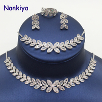 Nankiya Classic Choker Necklace Earring 4pcs Set Fashion Eye Leaf Zircons Plant Tennis Adjustable Size Women Jewelry Set NC455