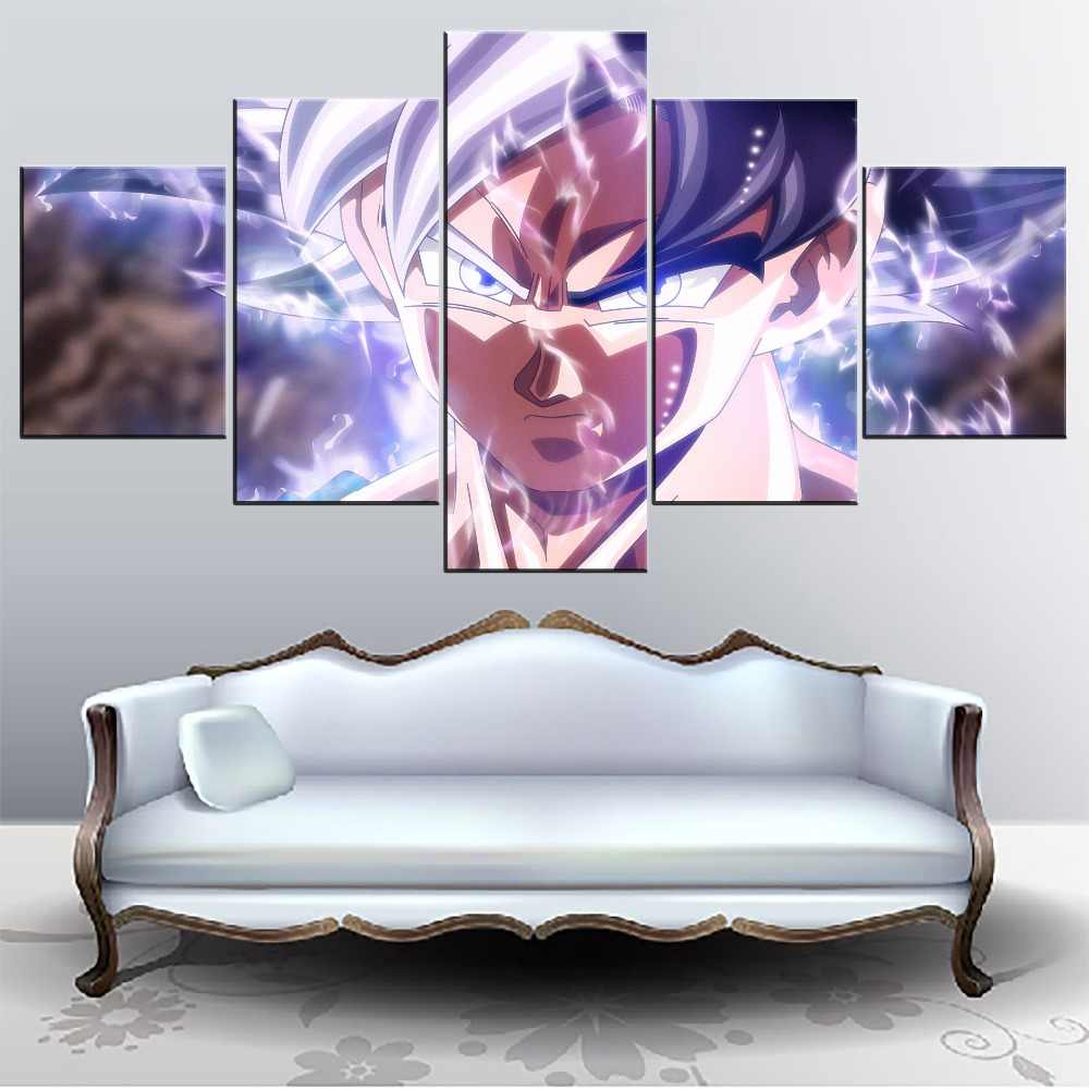 Wall Art Pictures 5 Pieces Anime Dragon Ball Super Ultra Instinct Goku Painting On Canvas Printing Type Poster Decor Framework