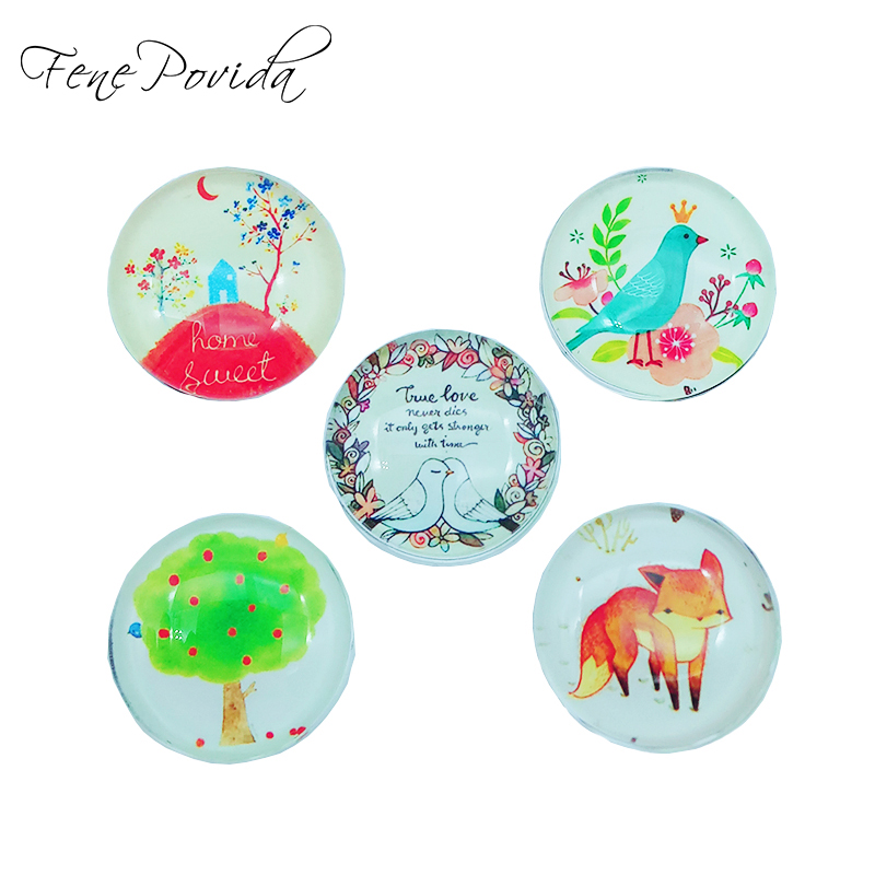 1pcs 25mm Hand-drawing Style Home Decoration Cute Fox Crystal Glass Refrigerator Magnet Kids' Cartoon Magnetic Sticker H007