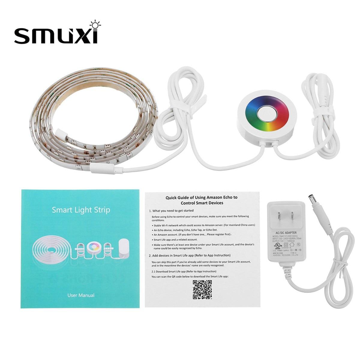 Smuxi современный Цвет Регулируемая Смарт Wi-Fi RGB Светодиодные ленты огни touch сроки приложение Дистанционное управление для Alexa Google Главная США ...