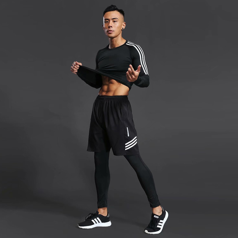 3pcs / Set Men's Gym Workout Sports Suit Fitness Compression Clothes Running Jogging Sport Wear Exercise Workout Tights