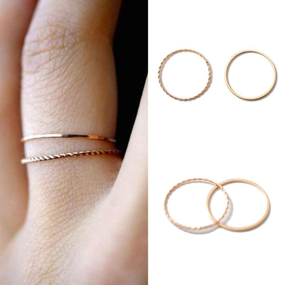 Thin slim rose gold stacking knuckle ring set small finger MIDI finger ring simple design fashion jewelry rings for women